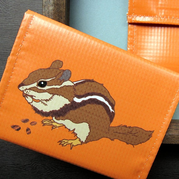 Chipmunk  Vinyl Pouch / Coin Purse / Wallet -- Eco Friendly