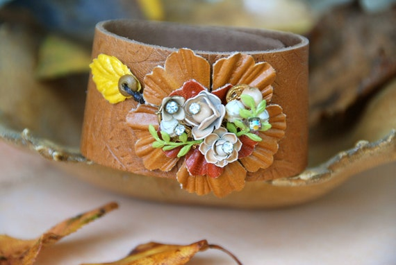 Autumn Bouquet. vintage assemblage ,brown leather, floral cuff. tiedupmemories