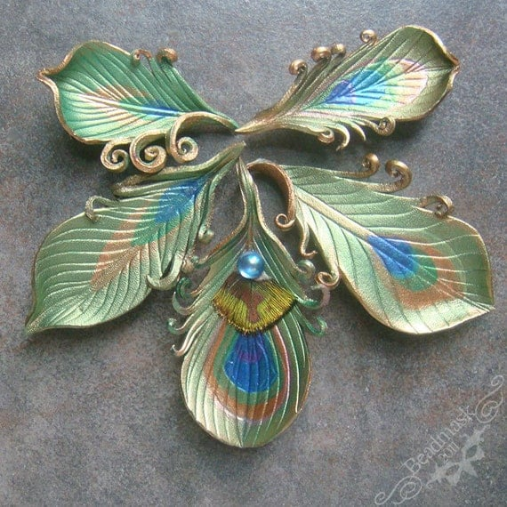 Little Leather Peacock Feather Brooch or Pin