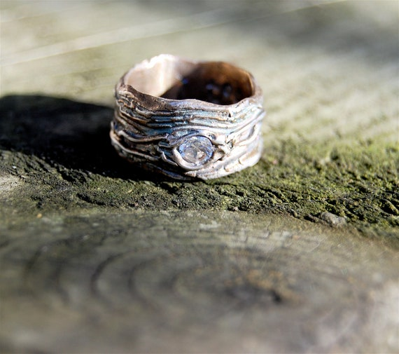 bark wedding bands sapphire ring set gaer woods tree knot - Artisan Wedding Rings