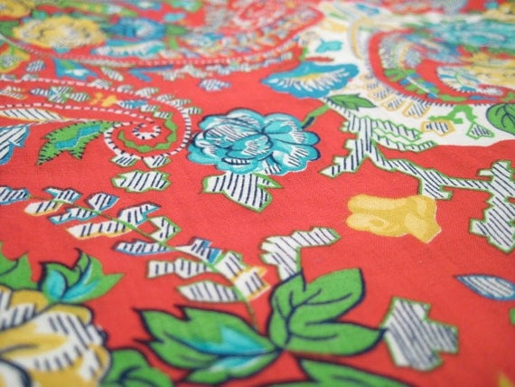 Vintage Fabric Yardage - Large Red Paisley - Large Print - Floral - Primary Colors - 6 Yards