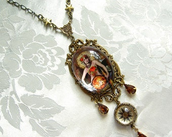 The World - Tarot Card Necklace -  Simply Elegant Version in Rust and Jade - Carnivale Mystickal