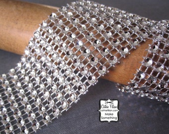 Diamond Ribbon - Silver tone - 8 rows - 1 Yard - fake rhinestone trim - wedding jewelry making flip flop