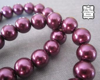 Deep Purple Pearl Beads - 1 Strand of Pearls - 10mm - Glass plum, deep purple, merlot
