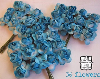 36 Turquoise Paper Flowers - small bouquet -  wedding, bridal, blue, baby shower boy, party favor, invitation making