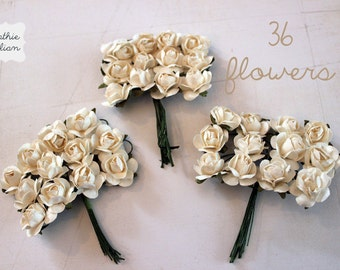 36 Ivory Paper Flowers - small bouquet - weddings - favors - invitations - paper goods