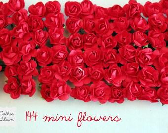 144 Red Paper Flowers - mini bouquet - weddings - favors - invitations - paper goods