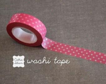 Washi Tape Pink Polka Dot - 10.5 yard roll Japanese Deco Tape swiss dot