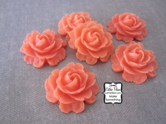 Coral Resin Flowers Rose - EMBELLISHMENT SET - Scrapbooking, Jewelry Design, Bobby Pin - set of 6