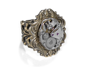 Steampunk Jewelry Ring Vintage Jeweled Watch Movement Art Nouveau Wedding Anniversary Womens Mens Steampunk Ring - Jewelry by edmdesigns