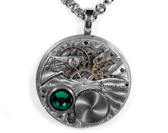 Steampunk Jewelry Necklace ILLINOIS Pocket Watch May Birthstone EMERALD Crystal Mothers Day, Fathers Day Gift BEAUTY - Jewelry by edmdesigns