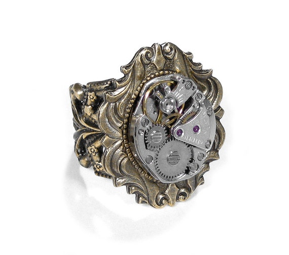 Steampunk Jewelry Ring Vintage Ruby Jeweled Watch Adjustable Band Art Nouveau GORGEOUS Wedding Anniversary - Steampunk Jewelry by edmdesigns
