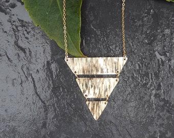 14kt gf medium triangle slice necklace