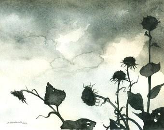 October Sunflowers - Watercolor print-