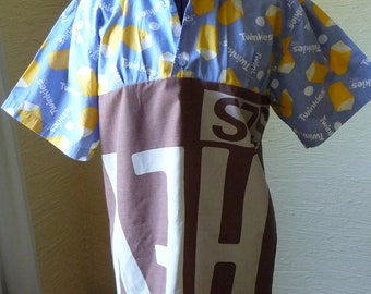Junk Food Shirt, Upcycled Shirt, Handmade Tunic Top,Unique Clothing,Medium Large,Tunic Shirt,Recycled Fabrics,Snack Cakes,Candy Bars,Buttons