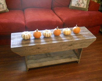 Coffee Table Wood Cross Entry Bench. Rustic Bench / Entertainment TV Stand. Recycled Wood Furniture Side table Console