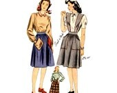 1940s Era skirt and blouse vintage sewing pattern Simplicity 4496 Waist 24 Small