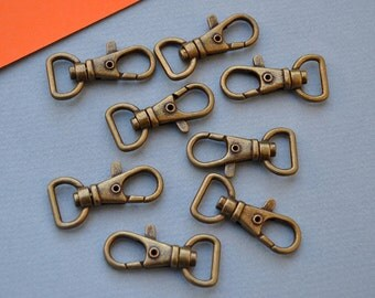 10 of 1.5 inch with 1/2 inch Loop End Anti Brass Swivel Clasps Lobster Claw Hooks