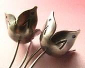 Sterling Silver Earrings, Bell Flower Earrings, Metalsmith Artisan Jewelry, Contemporary Earrings, Belle Fleur Silver Dangle Earrings