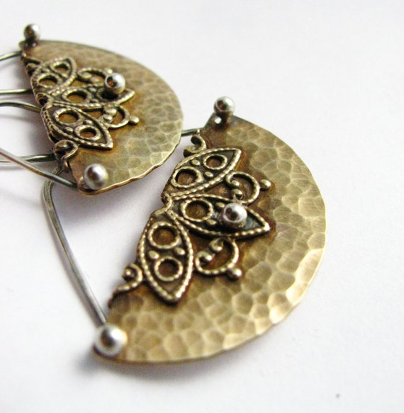 Mixed Metal Dangle Earrings, Bronze And Sterling Silver Hammered Crescent Earring, Artisan Metal Jewelry, Metalwork Jewelry, Brass Earrings