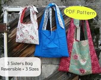 Bag Pattern  Reversible Grocery Bag Pattern including 3 sizes Download now