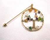 Family Tree Birthstone brooch pin in gold - Personalized gift - Lapel pin- gemstone birthstones - mothers grandmothers jewelry - genealogy