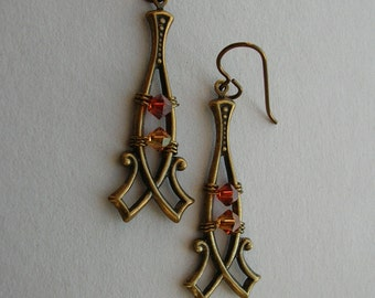 Double Point Brass Frame Earrings -- Autumn Red/Orange Swarovski Crystals in Antique Brass Scroll Frame -- Wire Wrapped Beads