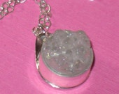 Small Round Iridescent White Druzy Bezel Set Pendant on Sterling Silver Chain Handmade Necklace