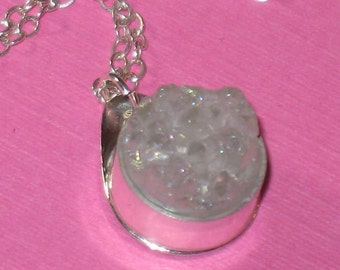Iridescent White Druzy Small Round Bezel Set Pendant on Sterling Silver Chain Handmade Necklace