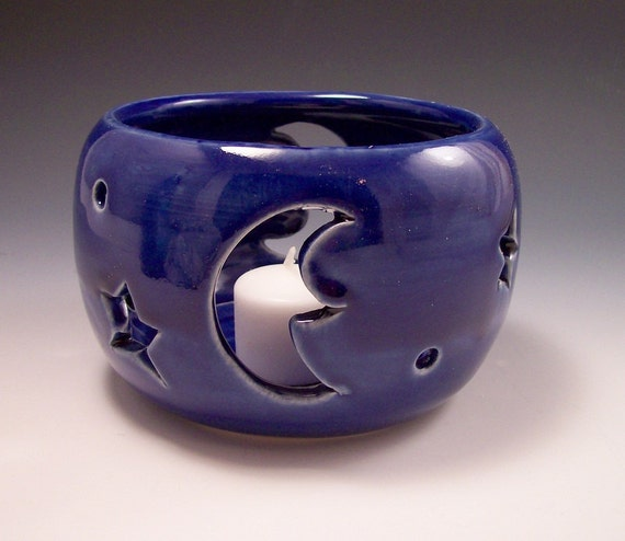 Pottery Carved Moon and Star Candle Shelter