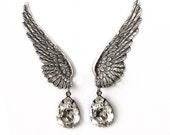 Clip On Earrings Wedding Earings Teardrop ear climber earrings Swarovski Crystal Drop Earring Angel wings Earring bridal gift for women