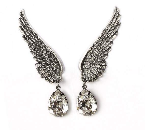 Swarovski Clip On Earrings Siver Wings ear climber earrings Crystal Drop Earring Angel wings bridal wedding jewelry halloween costume