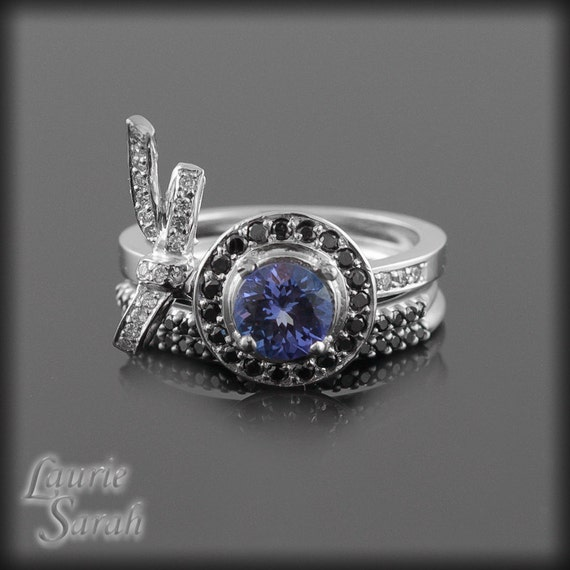 Engagement Ring Tanzanite with Black and White Diamonds