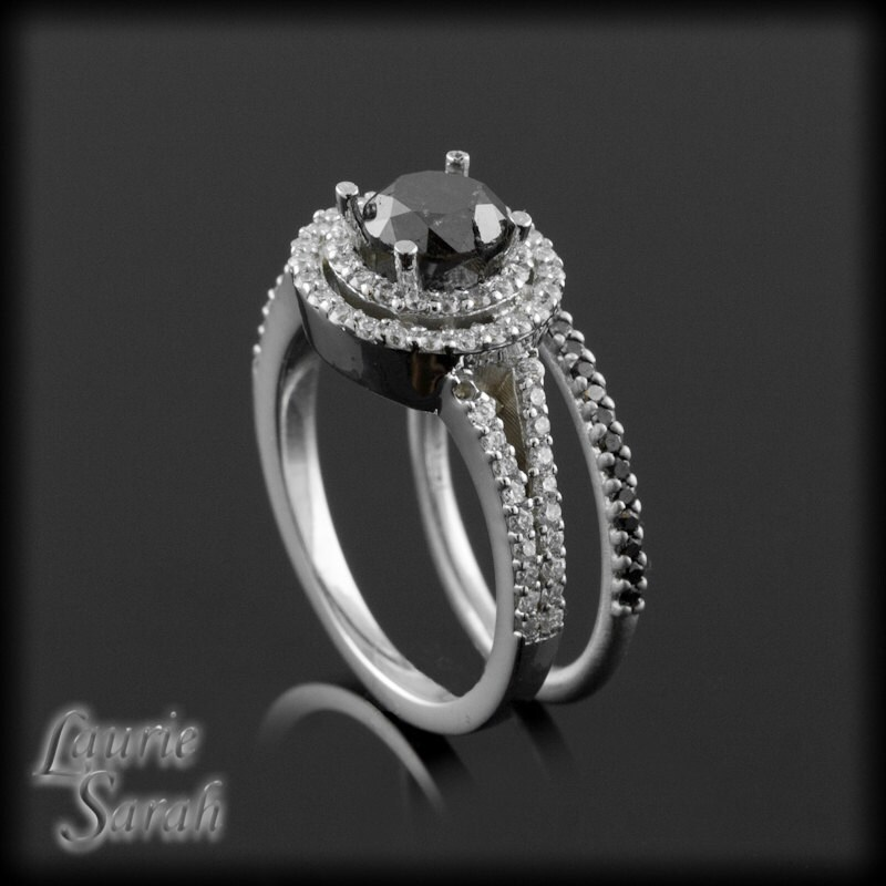 Black Diamond Engagement Ring and Wedding Band Set Black and
