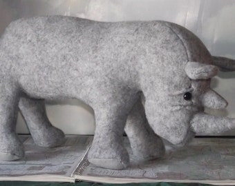Rhinoceros Rhino Stuffed Animal Pattern to Sew Instant Download