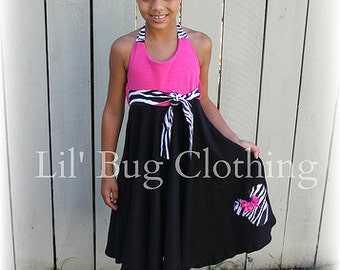 Custom Boutique Clothing Minnie Mouse Comfy Knit Black Pink Zebra Girls Dress Animal Kingdom