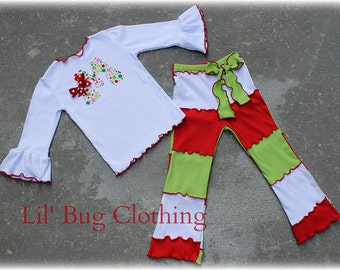 Custom Boutique Clothing Initial Personalized  Lettuce Edge Pant and Tee Christmas Outift Lime Red White