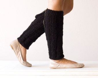 Black knit leg warmers with a zipper slouchy leg warmers spats leggings knit leg warmers black leg warmers