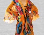 Italian Silk Chiffon Orange Flower Burst  Kimono Style Robe - Medium