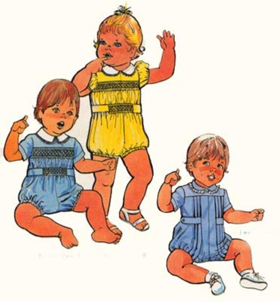Vintage 80s The Childrens Corner Patterns Baby Bubbles Smocked Romper Vintage Sewing Pattern Size 6-12 mos