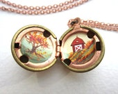 Autumn Farm Locket - Hand-painted Red Barn and Tree with Golden Leaves - Copper, Red, Orange and Rust