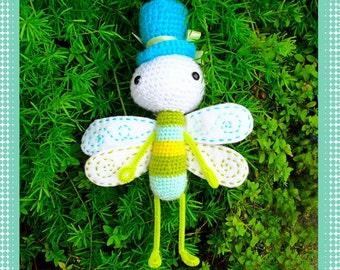 Top Hat Dragonfly Amigurumi Doll