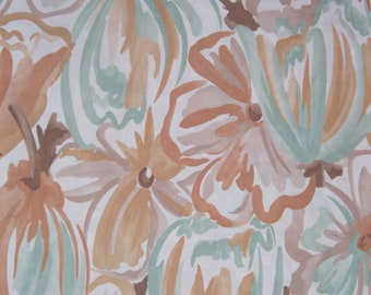 1970's soft pastel brush stroke floral and leaf print jersey shades of light brown, light green, peach, and cream, 1 yard