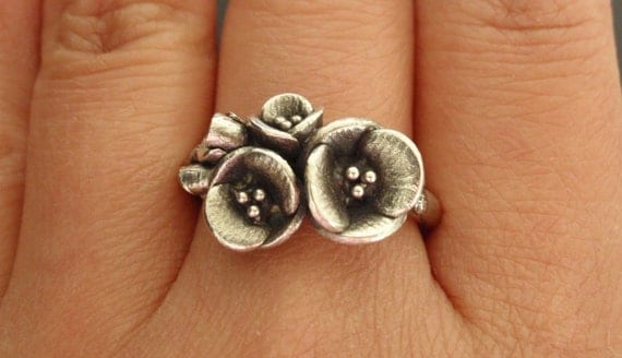 A Bouquet of Poppies - Handsculpted, Cast Sterling Silver Ring - Ready to Ship (Sizes 7.5 to 8.5)
