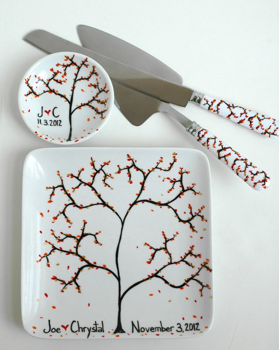 Autumn Personalized Wedding Reception 6-Piece Collection--Toasting Flutes, Ring Dish, Cake Plate and Cake Serving Set