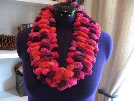 Items similar to Hand Knit Infinity Scarf in Pom Pom Yarn on Etsy