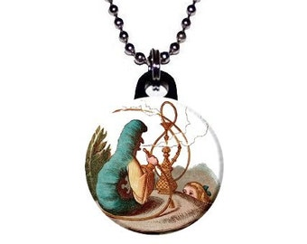 Classic Alice in Wonderland Caterpillar Book Image Necklace