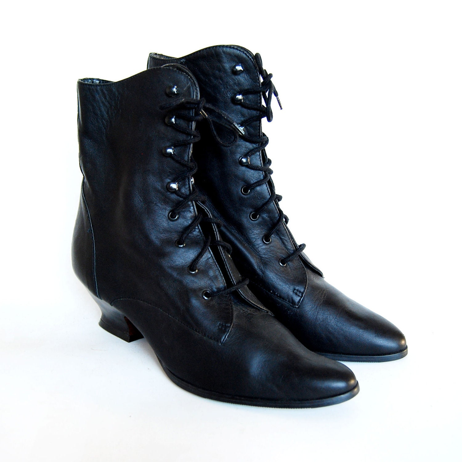 vintage GRANNY boots / 1990s black LEATHER victorian ankle