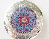 SALE - mandala locket necklace - silver locket necklace - Moroccan necklace - mandala necklace - locket necklace