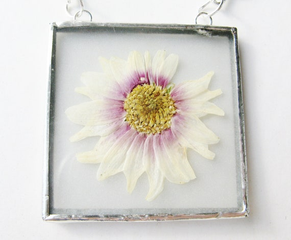 pink and purple flower necklace -  real flower - necklace - pendant - silver - glass - long - statement - long - large